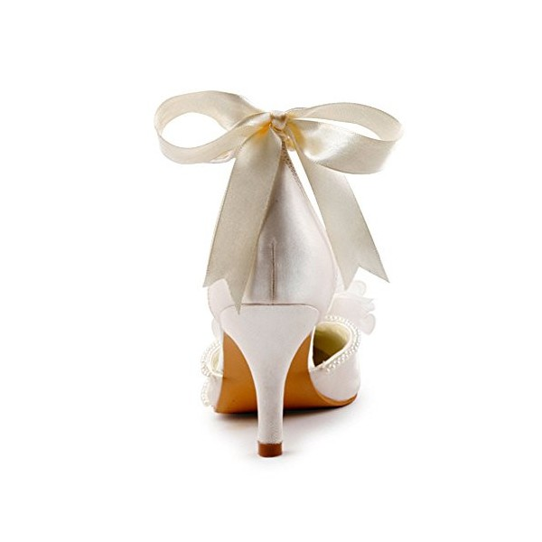 Women's White Satin Floral Back Bow Ankle Strap Bridal heels Sandals image 4