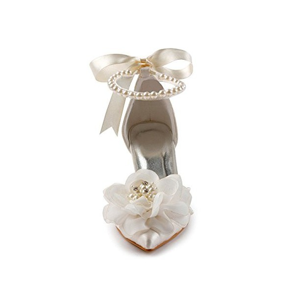 Women's White Satin Floral Back Bow Ankle Strap Bridal heels Sandals image 2