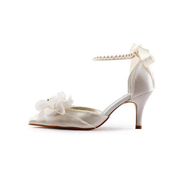 Women's White Satin Floral Back Bow Ankle Strap Bridal heels Sandals image 3