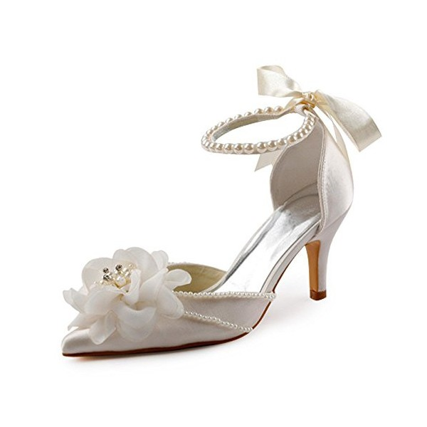 Women's White Satin Floral Back Bow Ankle Strap Bridal heels Sandals image 1