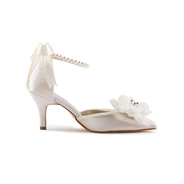 Women's White Satin Floral Back Bow Ankle Strap Bridal heels Sandals image 6