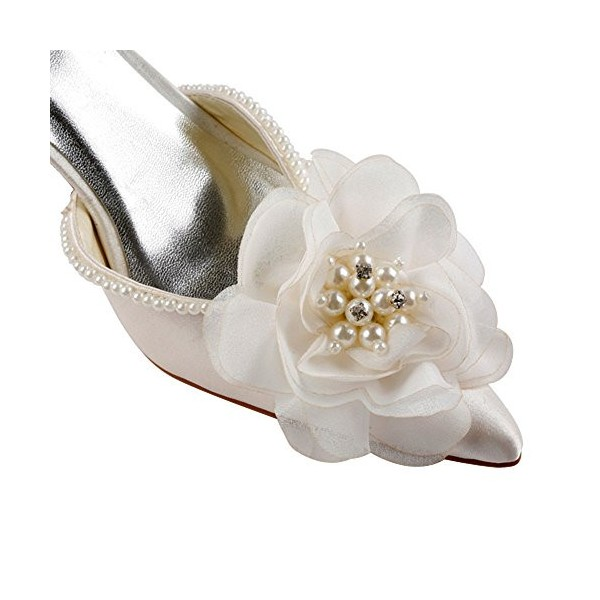 Women's White Satin Floral Back Bow Ankle Strap Bridal heels Sandals image 5