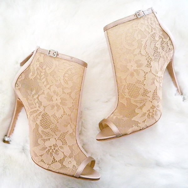 Women's Pencil Heel Nude Lace Ankle Boots Wedding shoes image 1