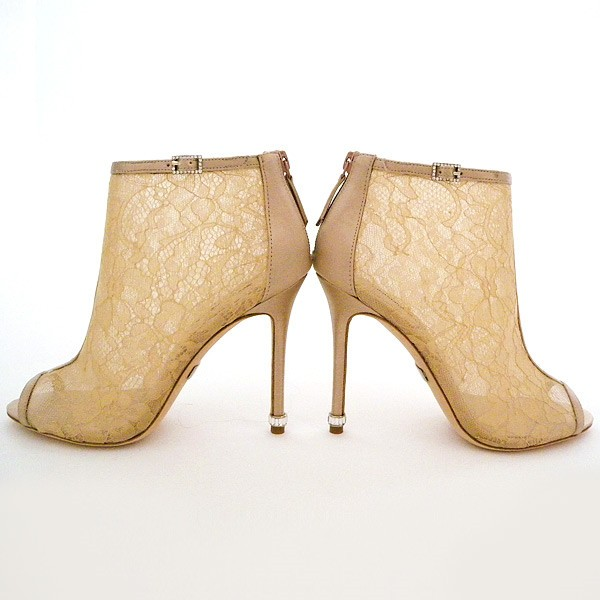 Women's Pencil Heel Nude Lace Ankle Boots Bridal Shoes image 4