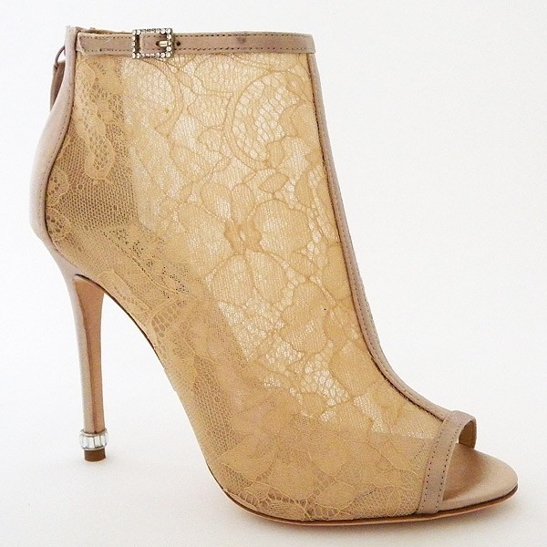 Women's Pencil Heel Nude Lace Ankle Boots Bridal Shoes image 3