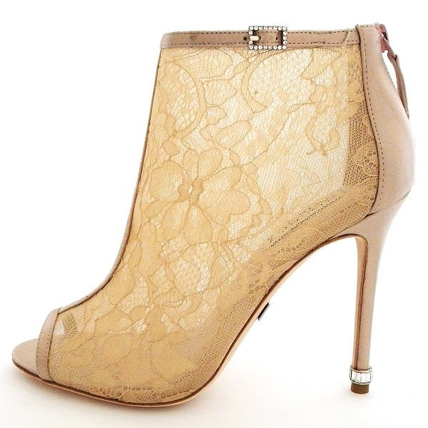 Women's Pencil Heel Nude Lace Ankle Boots Bridal Shoes image 1