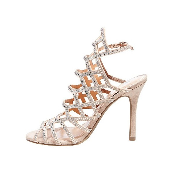 Evening Shoes Beige Open Toe Slingback Hollow out Stiletto Heel Sandals image 2