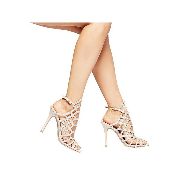 Evening Shoes Beige Open Toe Slingback Hollow out Stiletto Heel Sandals image 3