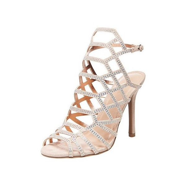 Evening Shoes Beige Open Toe Slingback Hollow out Stiletto Heel Sandals image 1
