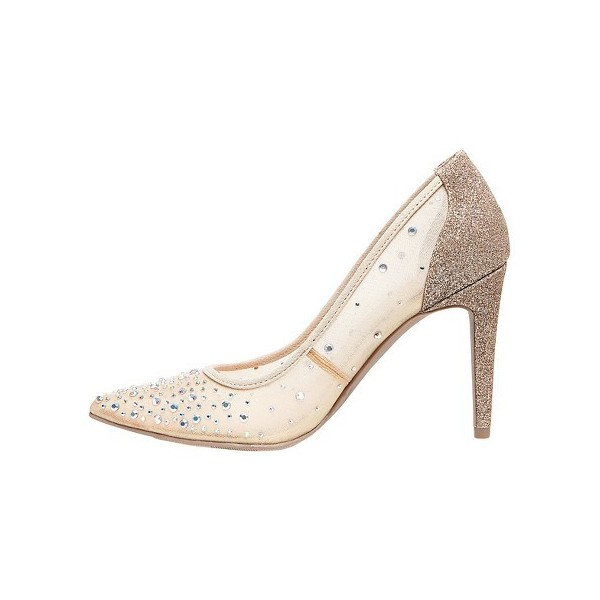 Champagne Lace Bridal Stiletto Heel Low-cut Uppers Glitter Bridal Shoes  image 2