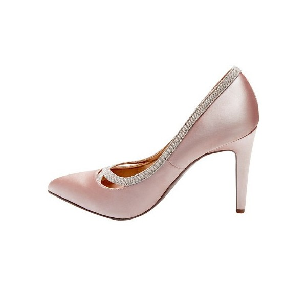 Pink Satin Wedding Heels Pointy Toe 3 Inch Heels Pumps for Bridesmaid image 2