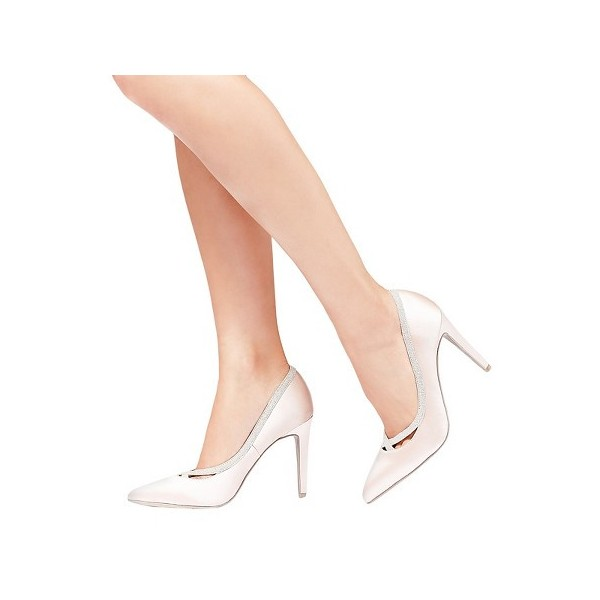 Pink Satin Wedding Heels Pointy Toe 3 Inch Heels Pumps for Bridesmaid image 1