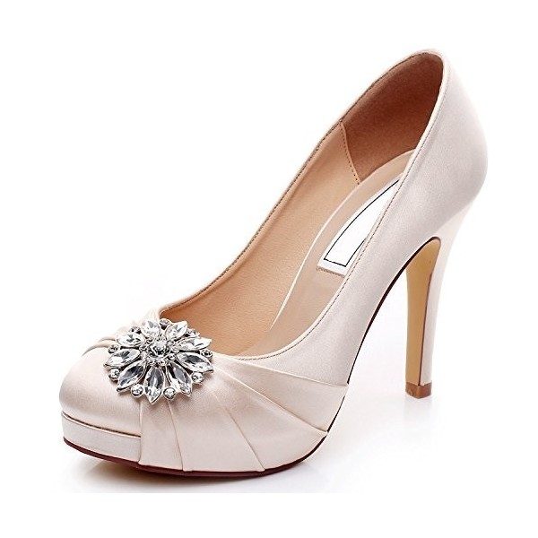 Champagne Bridal Heels Satin Rhinestone Platform Pumps for Wedding image 2