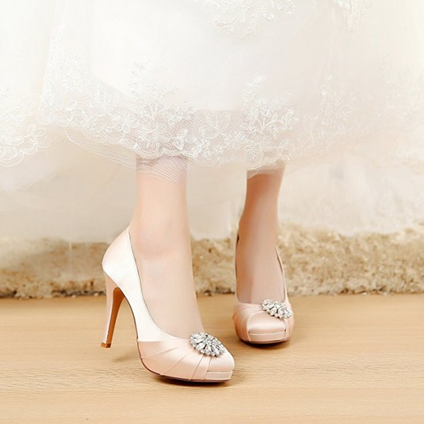 Champagne Bridal Heels Satin Rhinestone Platform Pumps for Wedding image 3