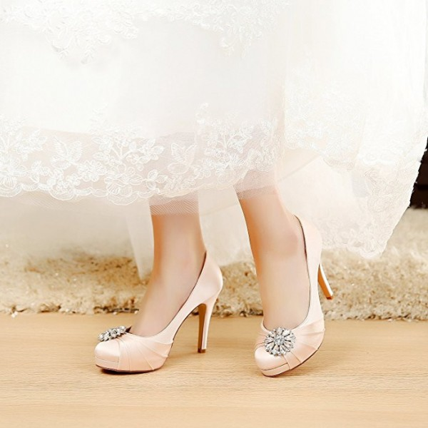 Champagne Bridal Heels Satin Rhinestone Platform Pumps for Wedding image 1