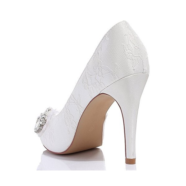 White Bridal Shoes Platform Lace Heels with Rhinestones for Wedding image 2