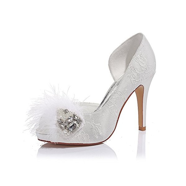 White Bridal Shoes Platform Lace Heels with Rhinestones for Wedding image 1