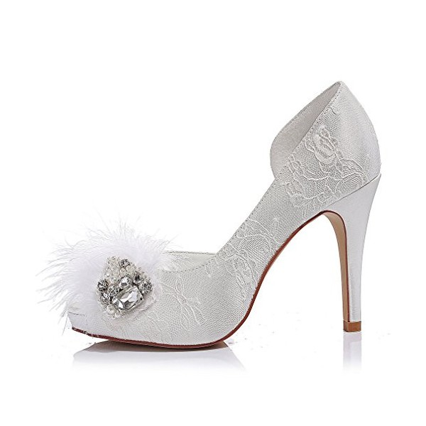 White Bridal Shoes Platform Lace Heels with Rhinestones for Wedding image 3