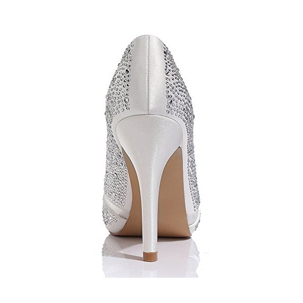 White Wedding Shoes Lace Hees Peep Toe Hotfix Pumps with Platform image 2