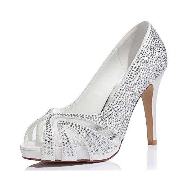 White Wedding Shoes Lace Hees Peep Toe Hotfix Pumps with Platform image 1