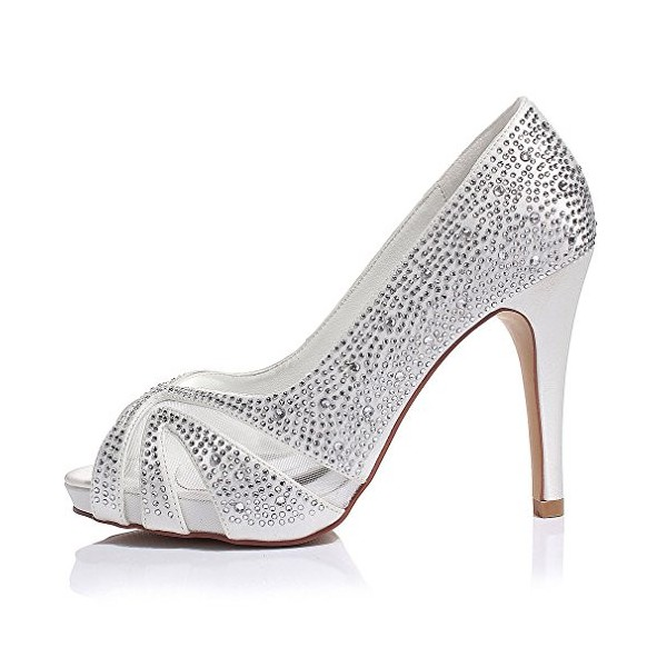 White Wedding Shoes Lace Hees Peep Toe Hotfix Pumps with Platform image 3