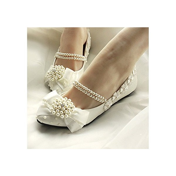 Women's White Lace With Pearl Comfortable Flats Bridal Shoes  image 3