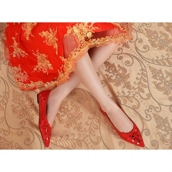 Red Pointy Toe Flats Comfortable Sequined Shoes  image 3