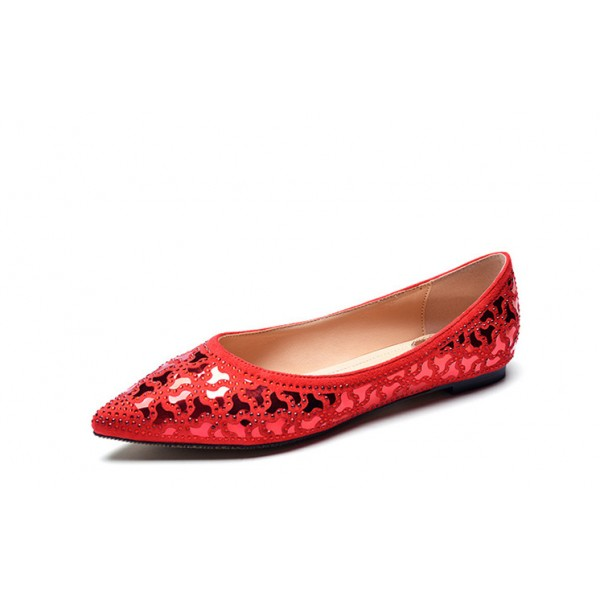 Red Pointy Toe Flats Comfortable Sequined Shoes  image 1