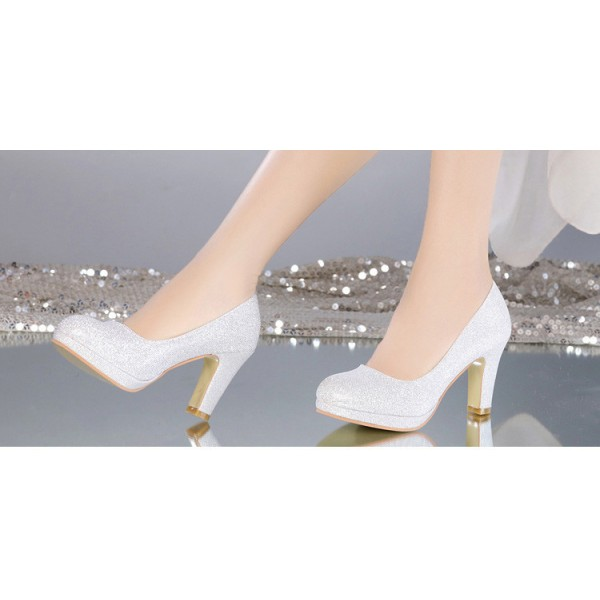 Women's White Round-toe Vintage Heel Comfortable Wedding Shoes image 2