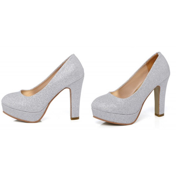 Women's White Round-toe Vintage Heel Comfortable Wedding Shoes image 3