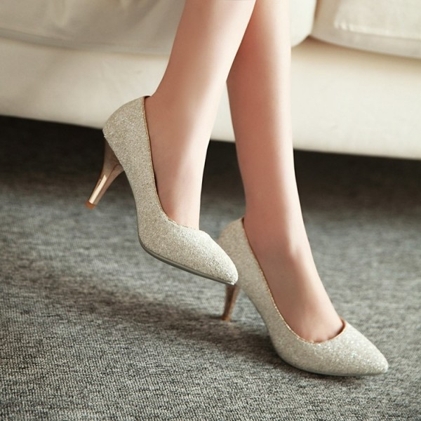 Women's White Glitter Wedding Shoes Low-cut Upper Stiletto Heels Pumps image 2
