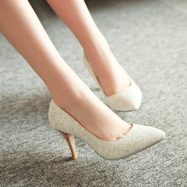 Women's White Glitter Wedding Shoes Low-cut Upper Stiletto Heels Pumps image 3