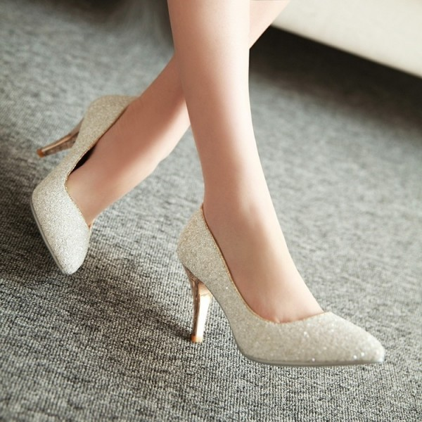 Women's White Glitter Wedding Shoes Low-cut Upper Stiletto Heels Pumps image 4