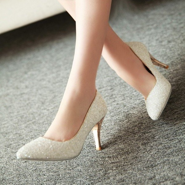Women's White Glitter Wedding Shoes Low-cut Upper Stiletto Heels Pumps image 1