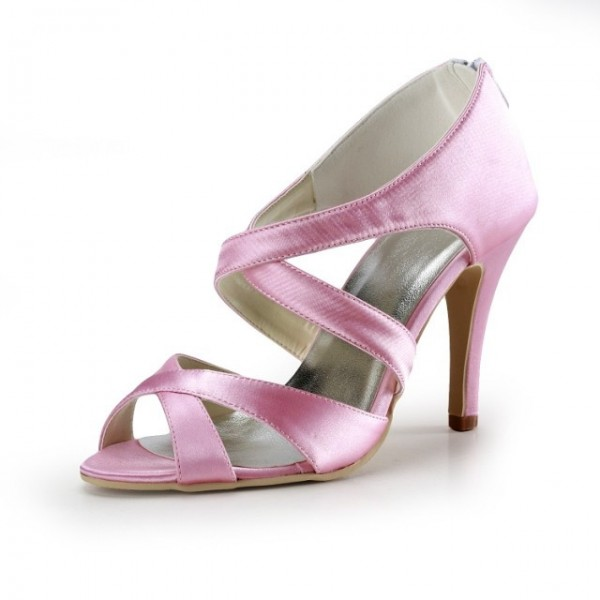 Pink Wedding Heels Open Toe Satin Cross-over Strap Sandals for Bridesmaid  image 1