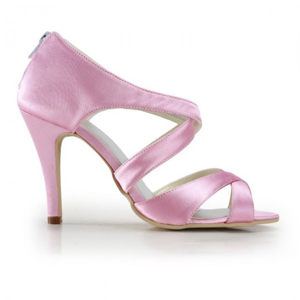 Pink Wedding Heels Open Toe Satin Cross-over Strap Sandals for Bridesmaid  image 3