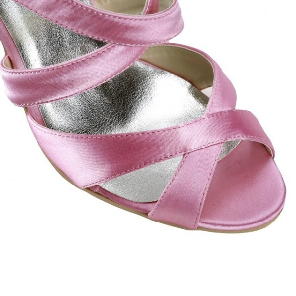 Pink Wedding Heels Open Toe Satin Cross-over Strap Sandals for Bridesmaid  image 2