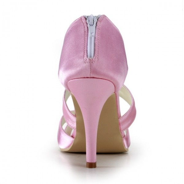 Pink Wedding Heels Open Toe Satin Cross-over Strap Sandals for Bridesmaid  image 4