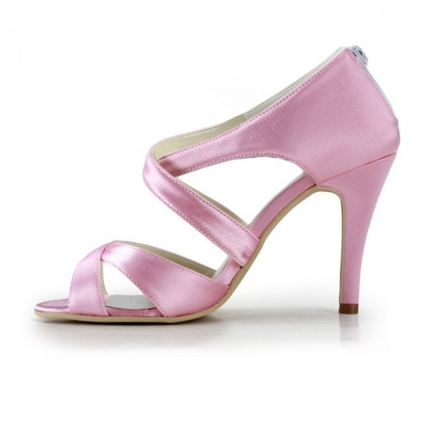 Pink Wedding Heels Open Toe Satin Cross-over Strap Sandals for Bridesmaid  image 5