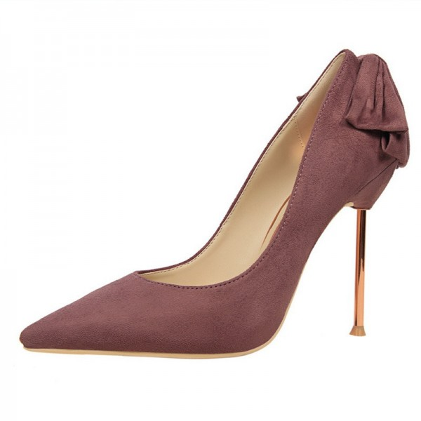 Maroon Stiletto Heels Suede Pointy Toe Pumps With Bow  image 2