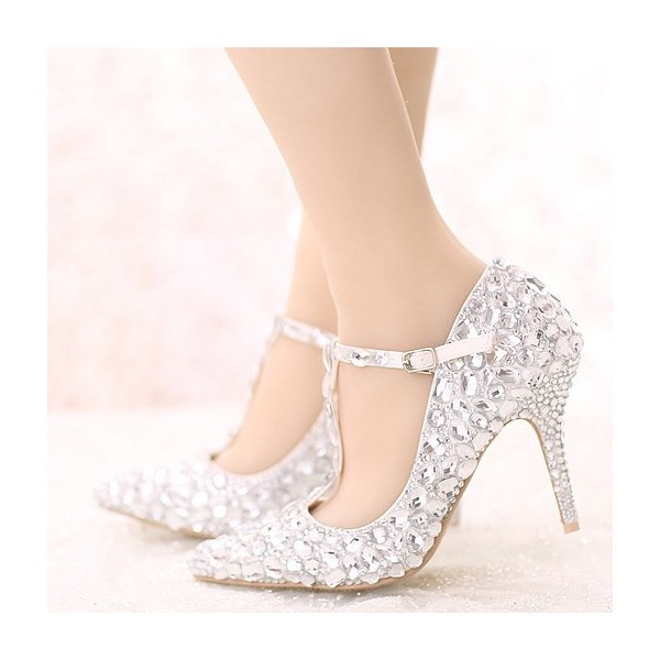 d4aecf838836 White Pointed Toe T-strap Crystal Heels Stiletto Heel Wedding Shoes image 1  ...