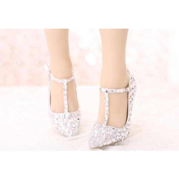 Women's White Crystal T-strap Pointed Toe Stiletto Heel Wedding Shoes image 2