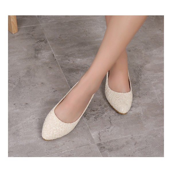 Beige Flat Wedding Shoes Lace Bridesmaid Flats US Size 3