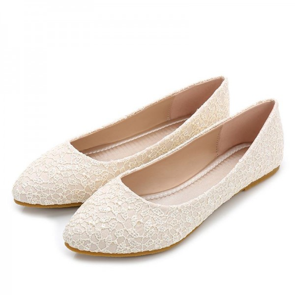 Women\'s Beige Wedding Shoes Floral Lace Comfortable Bridal Flats for ...