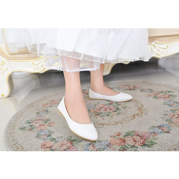 White Wedding Flats Lace Comfortable Shoes for Bridesmaid image 2