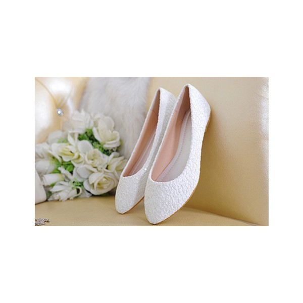 White Wedding Flats Lace Comfortable Shoes for Bridesmaid image 3