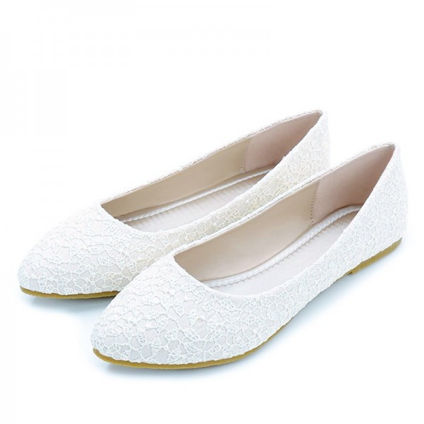 White Wedding Flats Lace Comfortable Shoes for Bridesmaid image 1
