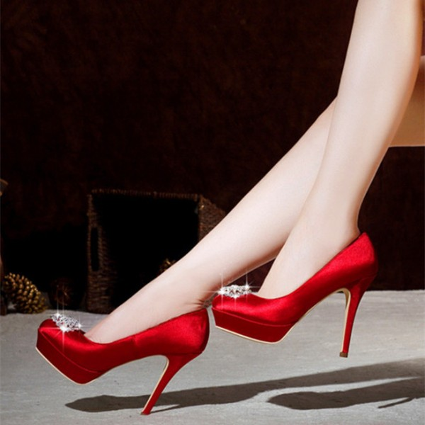 Women's Red Platform Fabrics Rhinestone Round-toe Pencil Heel Pumps Bridal Heels image 1