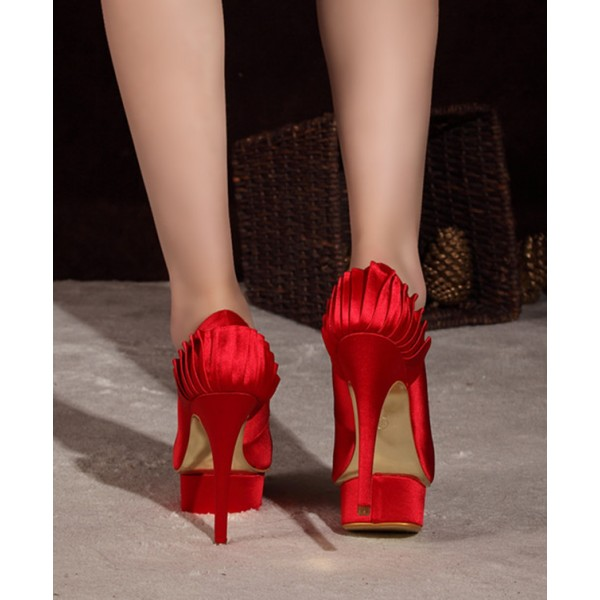 Red Satin Wedding Shoes Stiletto Heels with Platform image 2