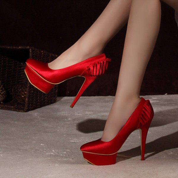 Red Satin Wedding Shoes Stiletto Heels with Platform image 1